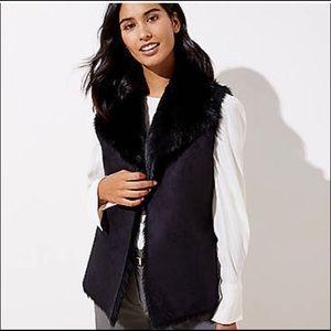Loft black faux fur elk suede vest